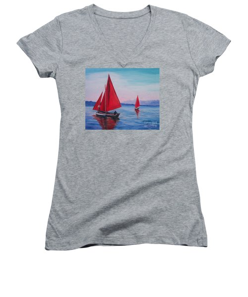 Women's V-Neck T-Shirt (Junior Cut) featuring the painting Red Sails On Irish Coast by Julie Brugh Riffey