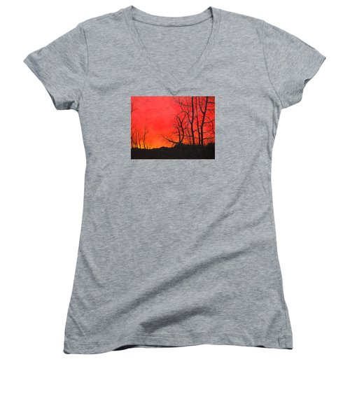 Women's V-Neck T-Shirt (Junior Cut) featuring the painting Red Sky  by Dan Whittemore