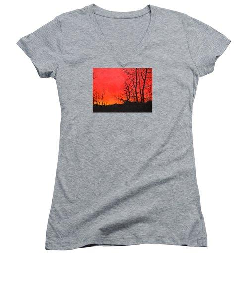 Red Sky  Women's V-Neck T-Shirt (Junior Cut) by Dan Whittemore