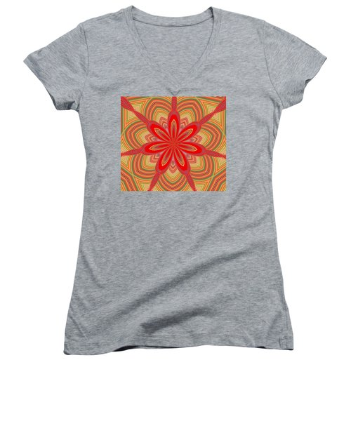 Red Star Brocade Women's V-Neck T-Shirt (Junior Cut) by Alec Drake