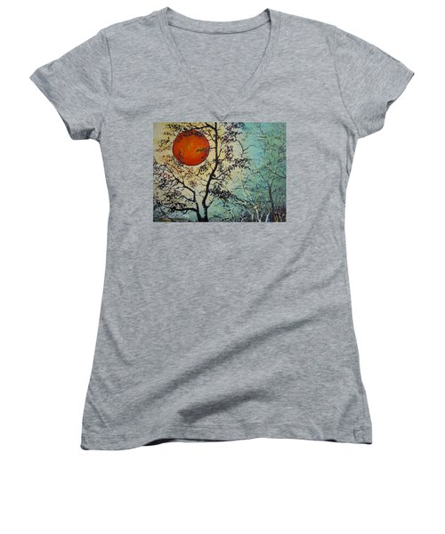 Women's V-Neck T-Shirt (Junior Cut) featuring the painting Red Sun A Red Moon by Dan Whittemore