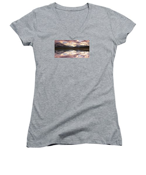 Reflecting Mountains Women's V-Neck T-Shirt (Junior Cut) by Keith Kapple