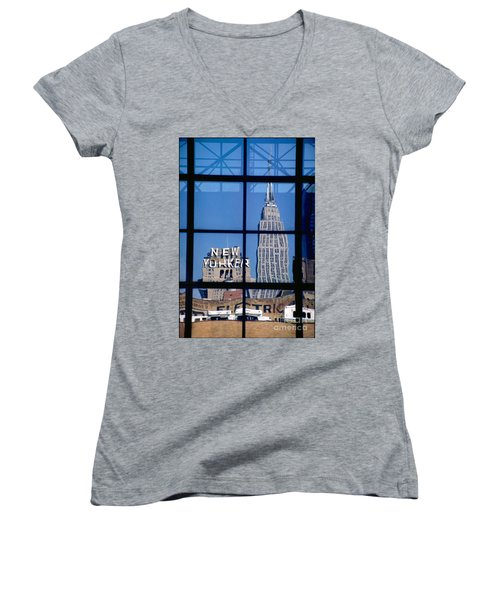 Reflection Empire State Building Women's V-Neck T-Shirt (Junior Cut) by Mark Gilman