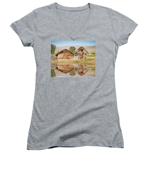 Reflection Of An Old Building Women's V-Neck