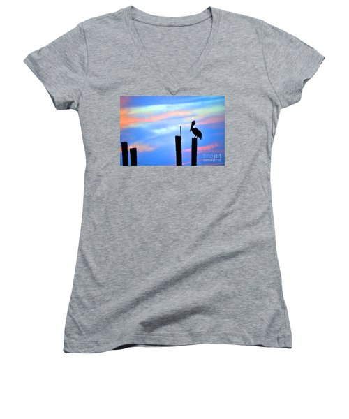 Women's V-Neck T-Shirt (Junior Cut) featuring the photograph Reflections In Water With Pelican by Dan Friend