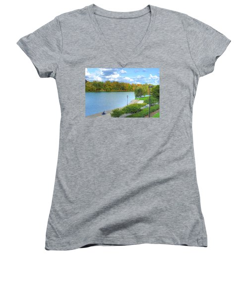 Women's V-Neck T-Shirt (Junior Cut) featuring the photograph Relaxing At Hoyt Lake by Michael Frank Jr