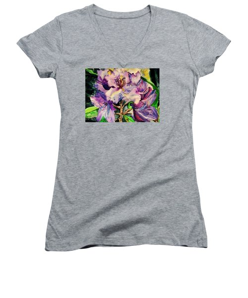 Rhododendron Violet Women's V-Neck (Athletic Fit)