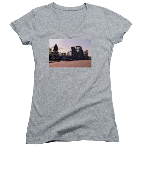 Women's V-Neck T-Shirt (Junior Cut) featuring the photograph Ride It Cowboy by Stacy C Bottoms