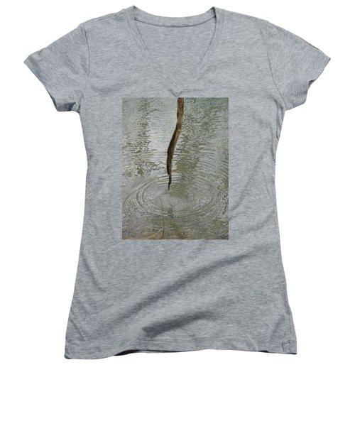 Women's V-Neck T-Shirt (Junior Cut) featuring the photograph Ripples by Tiffany Erdman