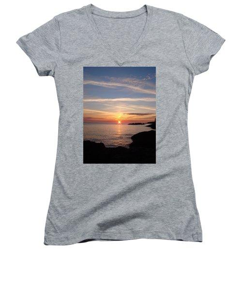 Women's V-Neck T-Shirt (Junior Cut) featuring the photograph Rising Sun by Bonfire Photography