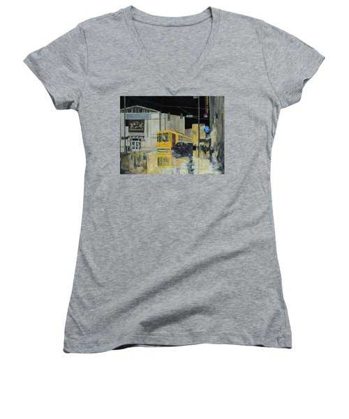 Rivermarket Streetcar 411 Women's V-Neck T-Shirt (Junior Cut) by Angelo Thomas