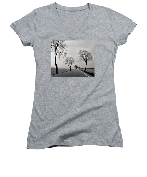 Road Through Windy Fields Women's V-Neck