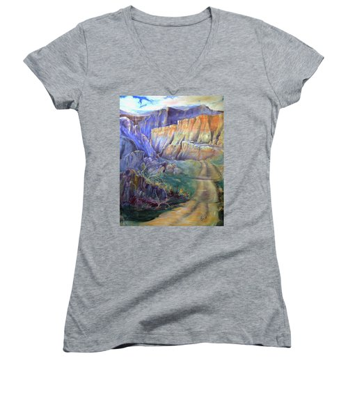 Road To Rainbow Gulch Women's V-Neck T-Shirt (Junior Cut) by Gertrude Palmer