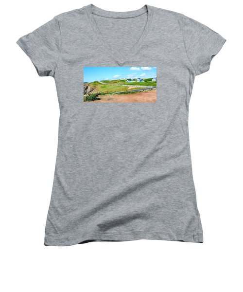 Women's V-Neck T-Shirt (Junior Cut) featuring the photograph Road Trip In Cape Breton Nova Scotia by Joe  Ng