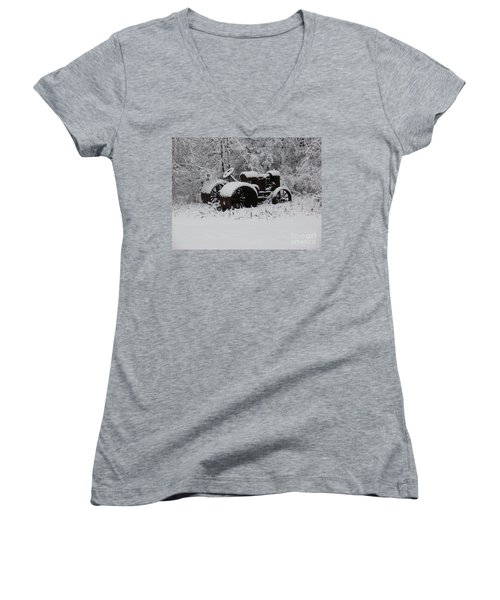 Women's V-Neck T-Shirt (Junior Cut) featuring the photograph Robed In White by Christian Mattison
