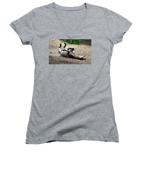 Rollin In The Dirt Women's V-Neck T-Shirt (Junior Cut) by Elizabeth Winter
