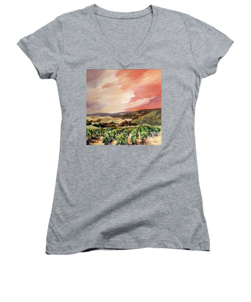 Rolling Vineyards 2 Women's V-Neck T-Shirt (Junior Cut) by Rae Andrews