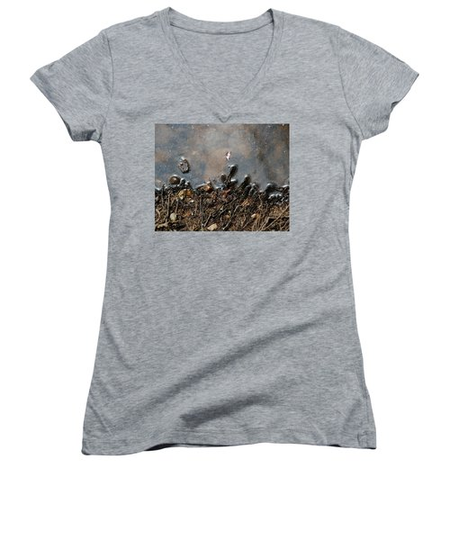 Women's V-Neck T-Shirt (Junior Cut) featuring the photograph Roots In Water by Kay Lovingood