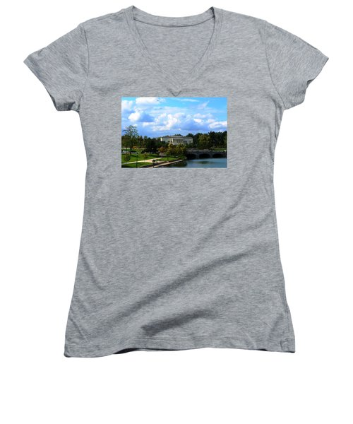 Women's V-Neck T-Shirt (Junior Cut) featuring the photograph Rose Garden And Hoyt Lake by Michael Frank Jr