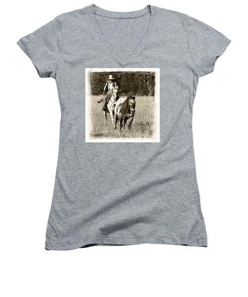 Women's V-Neck T-Shirt (Junior Cut) featuring the photograph Round-up by Jerry Fornarotto