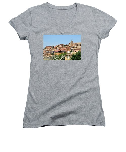 Women's V-Neck T-Shirt (Junior Cut) featuring the photograph Roussillon In Provence by Carla Parris