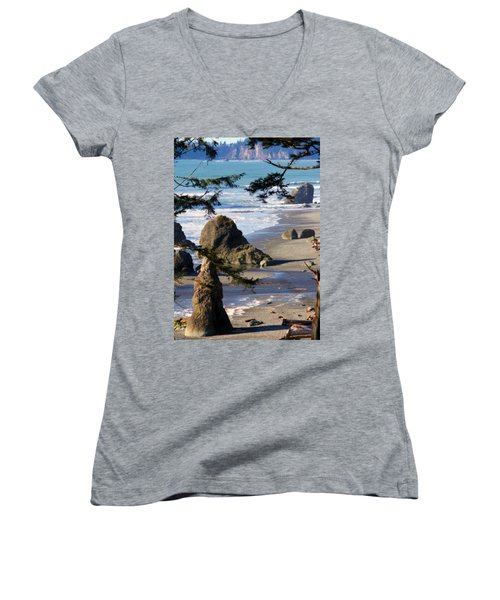 Ruby Beach Iv Women's V-Neck T-Shirt (Junior Cut) by Jeanette C Landstrom