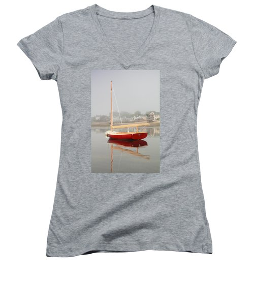 Ruby Red Catboat Women's V-Neck T-Shirt (Junior Cut) by Roupen  Baker