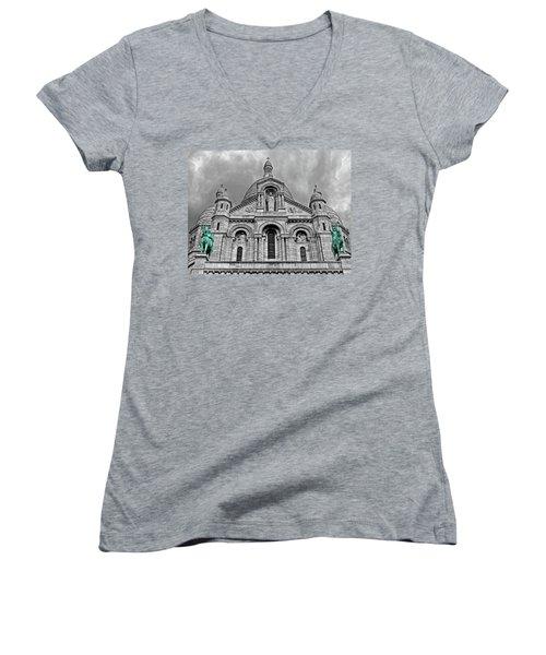 Women's V-Neck T-Shirt (Junior Cut) featuring the photograph Sacre Coeur Montmartre Paris by Dave Mills