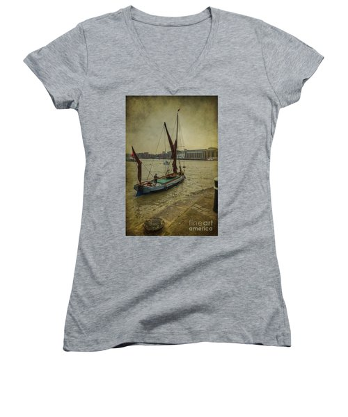 Women's V-Neck T-Shirt (Junior Cut) featuring the photograph Sailing Away... by Clare Bambers