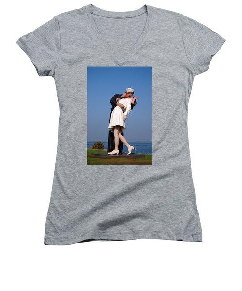 Sailor's Kiss Women's V-Neck T-Shirt (Junior Cut) by Holly Blunkall