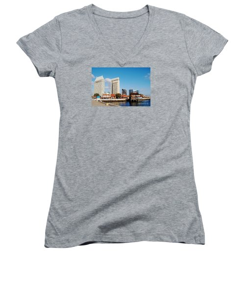 Women's V-Neck T-Shirt (Junior Cut) featuring the photograph San Diego - Seaport Village by Jasna Gopic