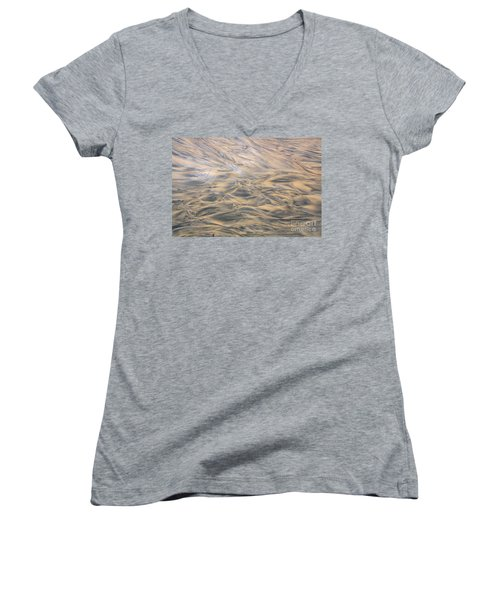 Women's V-Neck T-Shirt (Junior Cut) featuring the photograph Sand Patterns by Nareeta Martin