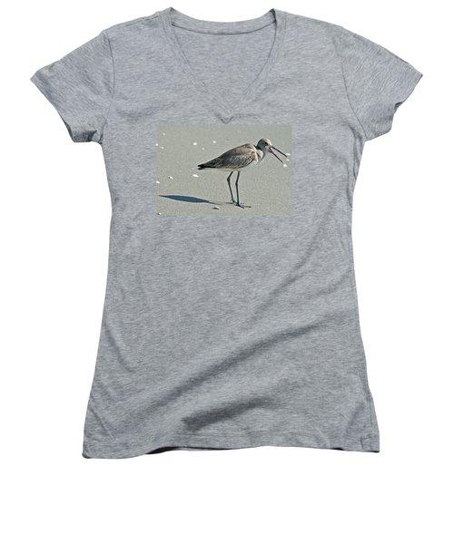 Sandpiper 4 Women's V-Neck T-Shirt (Junior Cut) by Joe Faherty