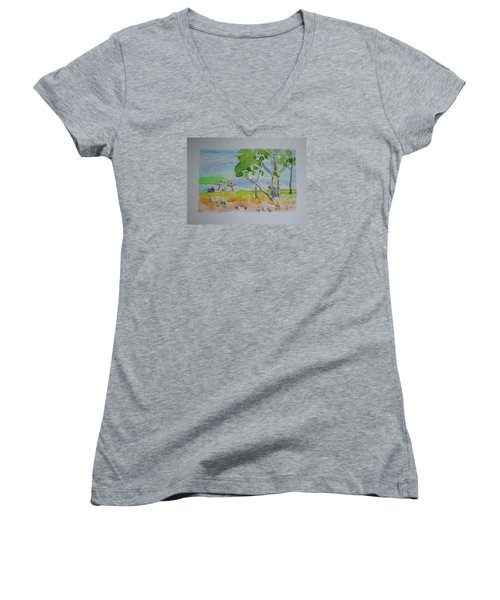 Women's V-Neck T-Shirt (Junior Cut) featuring the painting Sandpoint Bathers by Francine Frank