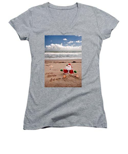 Santa At The Beach Women's V-Neck