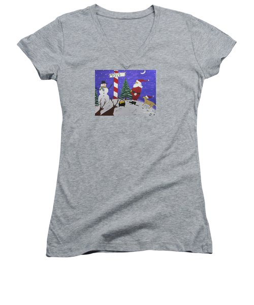 Women's V-Neck T-Shirt (Junior Cut) featuring the painting Santa Finds Pot Of Gold by Jeffrey Koss