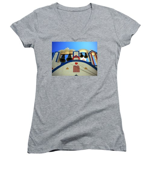 Women's V-Neck T-Shirt (Junior Cut) featuring the photograph Santorini Thirasia Island Greece by Colette V Hera  Guggenheim
