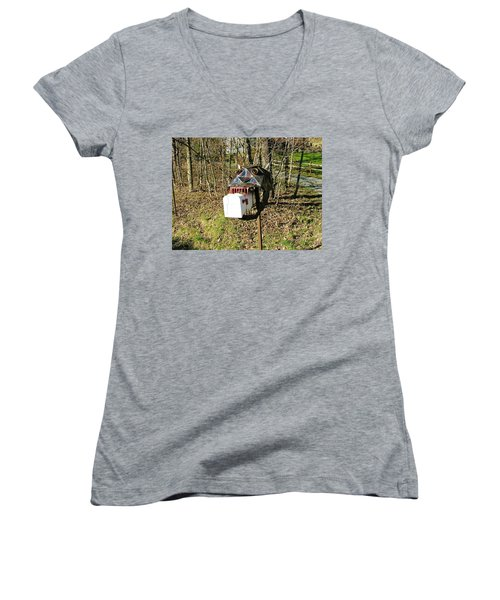 Women's V-Neck T-Shirt (Junior Cut) featuring the photograph Scary Mailbox 3 by Sherman Perry