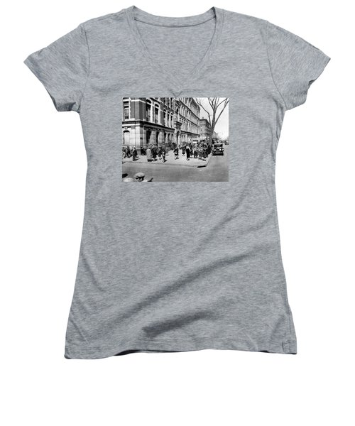School's Out In Harlem Women's V-Neck T-Shirt (Junior Cut) by Underwood Archives