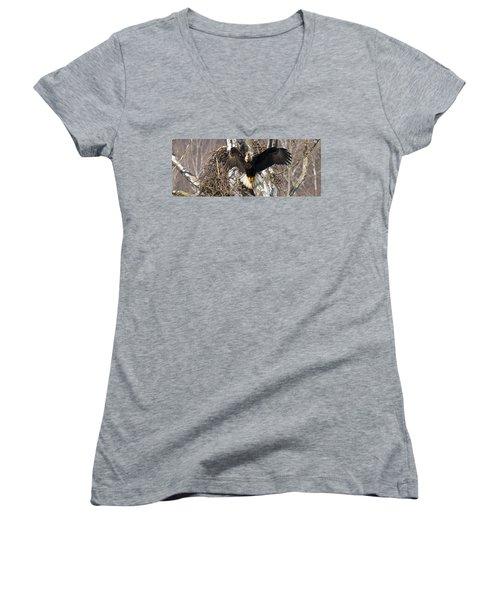 Women's V-Neck T-Shirt (Junior Cut) featuring the photograph Screaming Eagle  by Randall Branham