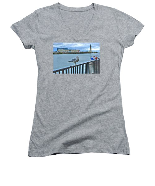 Women's V-Neck T-Shirt (Junior Cut) featuring the photograph Seagull At Lighthouse by Michael Frank Jr