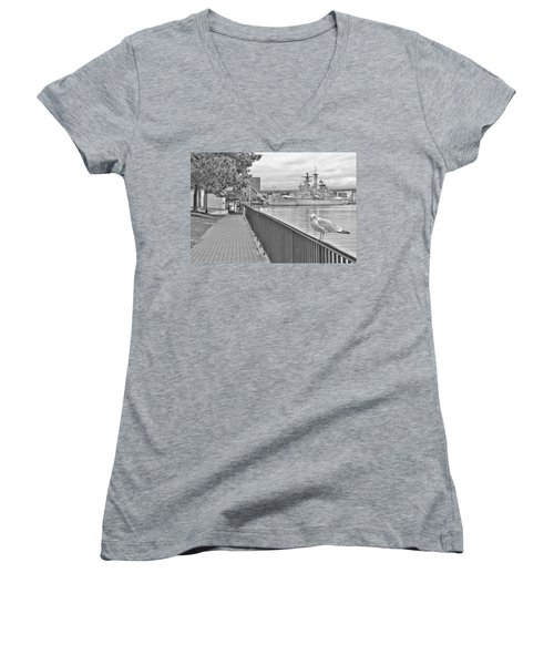 Women's V-Neck T-Shirt (Junior Cut) featuring the photograph Seagull At The Naval And Military Park by Michael Frank Jr