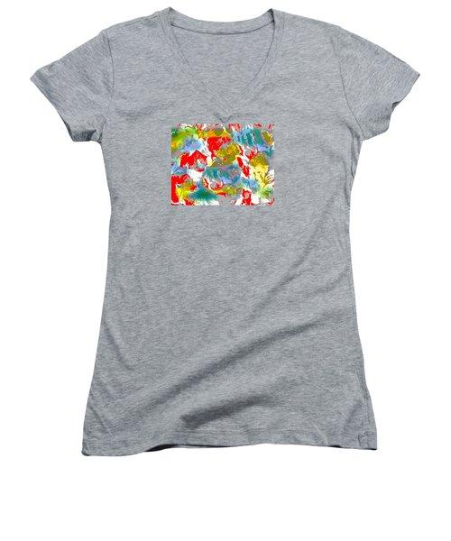 Women's V-Neck T-Shirt (Junior Cut) featuring the digital art Secrets by Beth Saffer