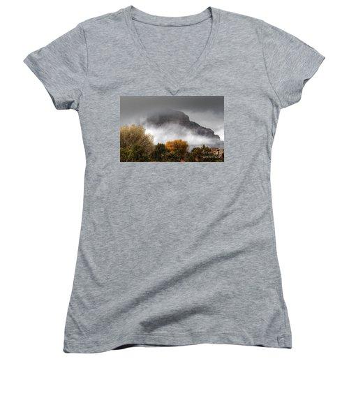 Women's V-Neck T-Shirt (Junior Cut) featuring the photograph Sedona Fog by Tam Ryan