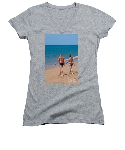 Senior Elderly  Lover Couple Women's V-Neck T-Shirt (Junior Cut) by Atiketta Sangasaeng