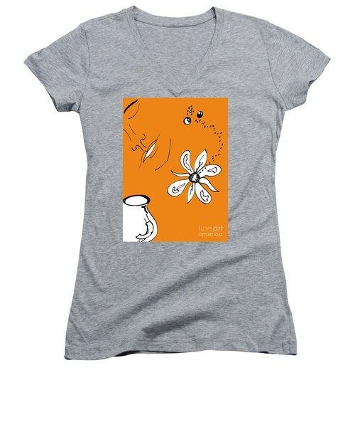 Serenity In Orange Women's V-Neck T-Shirt