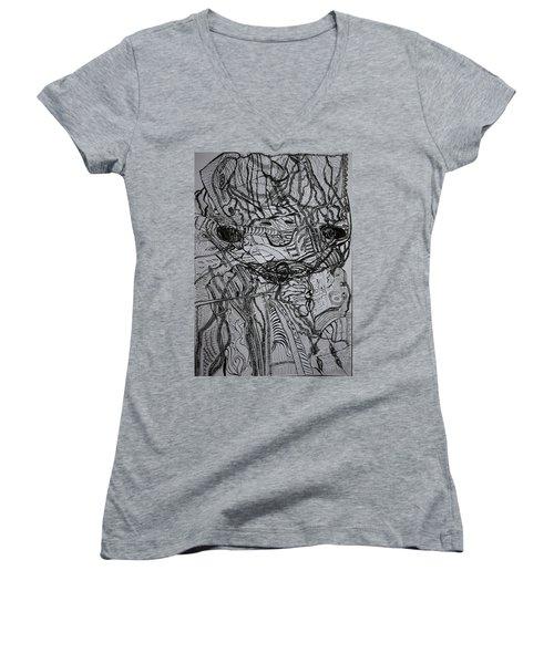Women's V-Neck T-Shirt (Junior Cut) featuring the drawing Shango by Gloria Ssali
