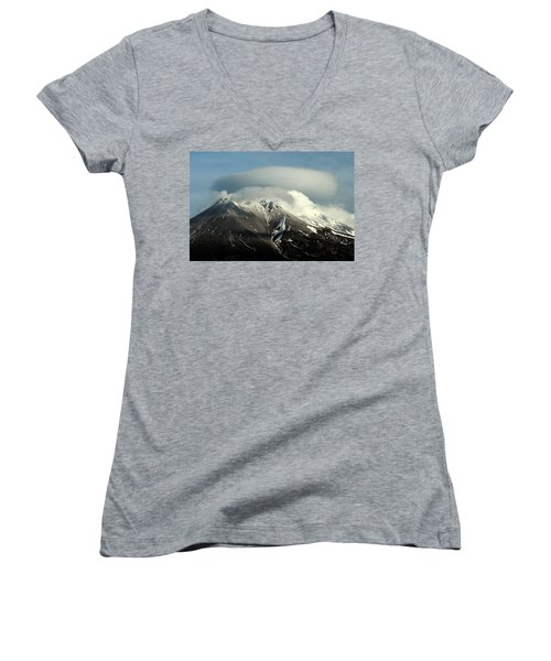 Women's V-Neck T-Shirt (Junior Cut) featuring the digital art Shasta Lenticular 2 by Holly Ethan