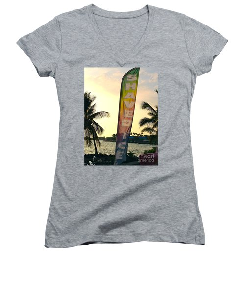 Women's V-Neck T-Shirt (Junior Cut) featuring the photograph Shaved Ice by Beth Saffer