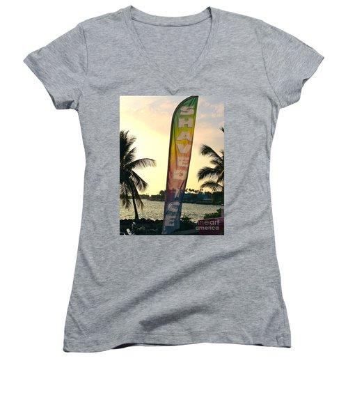 Shaved Ice Women's V-Neck T-Shirt (Junior Cut) by Beth Saffer